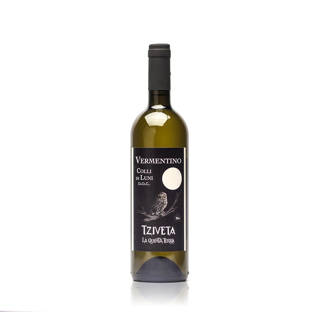 bottiglia di Tziveta, vermentino dei Colli di Luni
