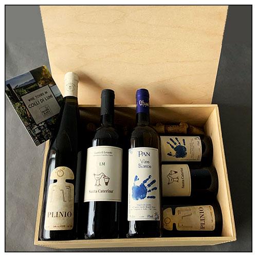 I vini Naturali dei Colli di Luni in una confezione regalo. Una cassetta di legno con 6 bottiglie: 2 bottiglie di Plinio Igt Levante Ligure di Terra della Luna; 2 bottiglie di LM di Santa Caterina; 2 bottiglie di Pan di Ilenia Spagnoli, confezionate in una bellissima cassetta di legno